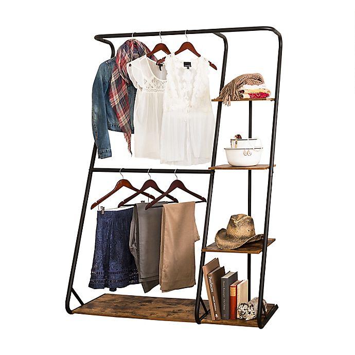 Alternate image 1 for Honey-Can-Do® Rustic Z-Frame Wardrobe with Shelves