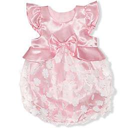 Nannette Baby Butterfly Bubble Romper in Peach