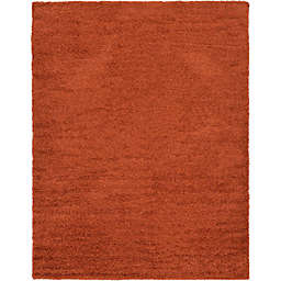 Unique Loom 9' x 12' Solid Shag Area Rug in Terracotta