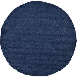 Unique Loom Solid Shag 6' Round Powerloomed Area Rug in Navy
