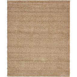 Unique Loom 8' x 10' Solid Shag Area Rug in Taupe