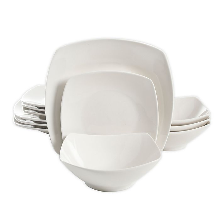 Alternate image 1 for Simply Essential™ Soft Square 12-Piece Dinnerware Set in White