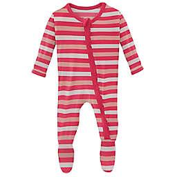 KicKee Pants® Hopscotch Stripe Footie in Pink