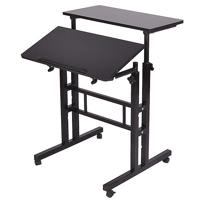 Alternate image 1 for Mind Reader 2-Tier Standing Desk Roller in Black