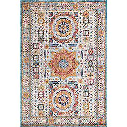 Rugs America Hailey Orange Appeal 5' x 7' Area Rug in White