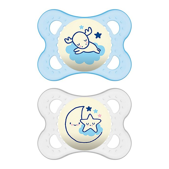 Alternate image 1 for MAM Night Age 0-6 Months Glow-in-the-Dark Pacifier (2-Pack)