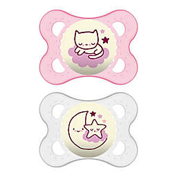 MAM Night Age 0-6 Months Glow-in-the-Dark Pacifier in Pink (2-Pack)