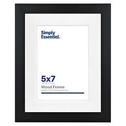 Simply Essential™ Gallery 5-Inch x 7-Inch Matted Wood Picture Frame in Black