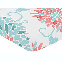 Sweet Jojo Designs® Emma Print Fitted Crib Sheet in White/Turquoise