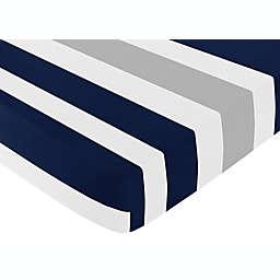 Sweet Jojo Designs Navy and Grey Stripe Fitted Crib Sheet