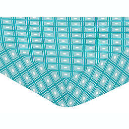Sweet Jojo Designs Mod Elephant Fitted Crib Sheet in Turquoise/White