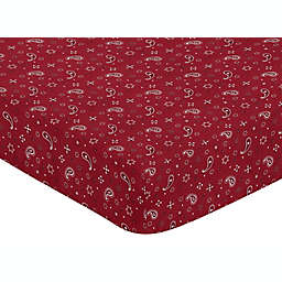 Sweet Jojo Designs Wild West Bandana Fitted Crib Sheet in Red