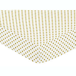 Sweet Jojo Designs Amelia Polka Dot Fitted Crib Sheet in Gold/White