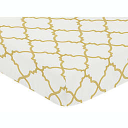 Sweet Jojo Designs Ava Trellis Fitted Crib Sheet in Gold/White