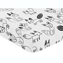 Sweet Jojo Designs® Fox Print Fitted Crib Sheet in Black/White
