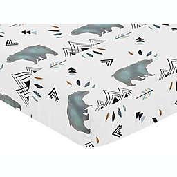 Sweet Jojo Designs Bear Mountain Fitted Crib Sheet in Blue/Black