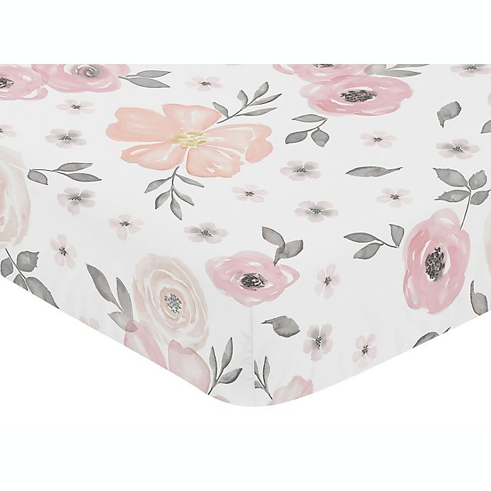 Alternate image 1 for Sweet Jojo Designs Watercolor Floral Fitted Crib Sheet in Pink/Grey