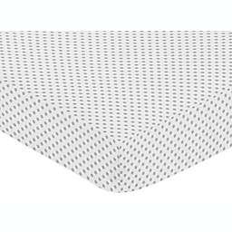 Sweet Jojo Designs Mini Polka Dot Fitted Crib Sheet in Grey/White