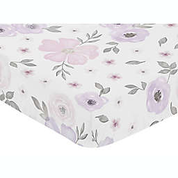 Sweet Jojo Designs Watercolor Floral Fitted Crib Sheet in Lavender/Grey