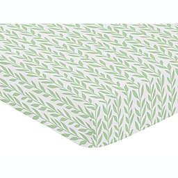 Sweet Jojo Designs Leaf Fitted Crib Sheet in Green/White