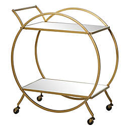 Ridge Road Décor Iron and Mirror Contemporary Bar Cart in Matte Gold