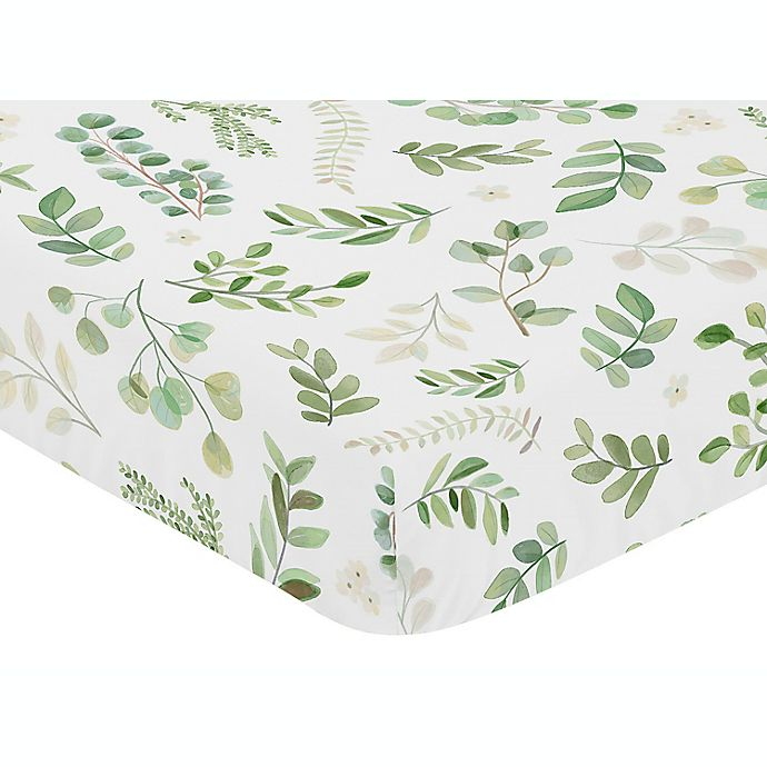 Alternate image 1 for Sweet Jojo Designs® Watercolor Botanical Leaf Fitted Crib Sheet in Green/White