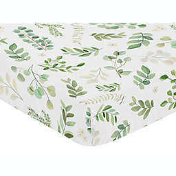Sweet Jojo Designs® Watercolor Botanical Leaf Fitted Crib Sheet in Green/White