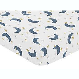 Sweet Jojo Designs® Moon Bear Fitted Crib Sheet in Blue/Gold