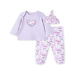 Little Me® Size 6M 3-Piece Lavender Hearts Shirt, Footed Pant, and Hat Set in Pink