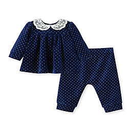 Little Me® 2-Piece Lace Collar Shirt and Pant Set in Navy