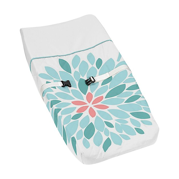 Alternate image 1 for Sweet Jojo Designs® Emma Changing Pad Cover in White/Turquoise