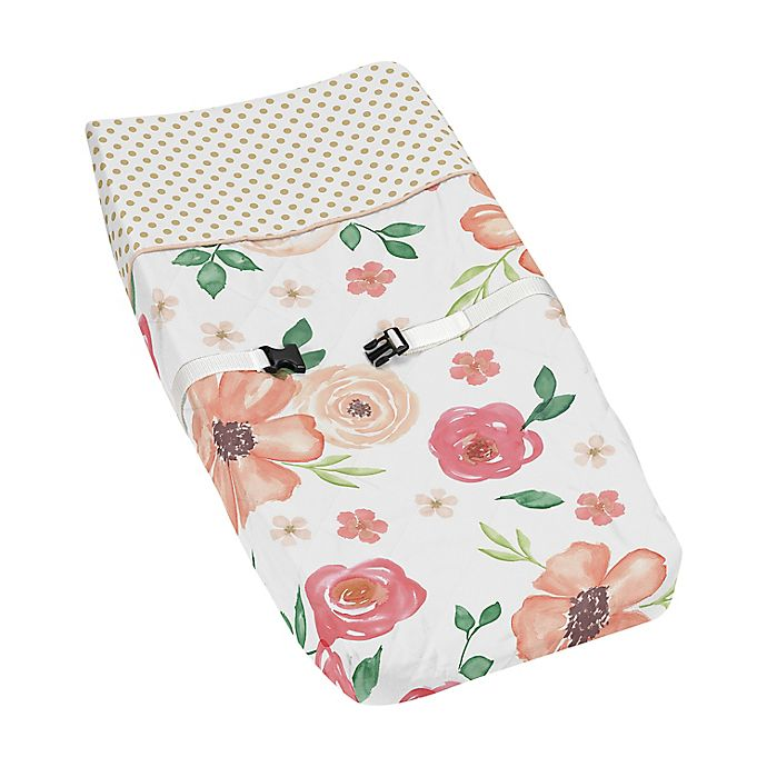 Alternate image 1 for Sweet Jojo Designs® Watercolor Floral Changing Pad Cover in Peach/Green