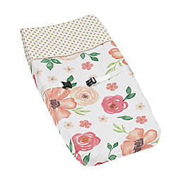 Sweet Jojo Designs® Watercolor Floral Changing Pad Cover in Peach/Green