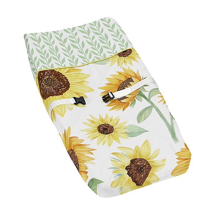 Alternate image 1 for Sweet Jojo Designs Sunflower Changing Pad Cover in Yellow/Green