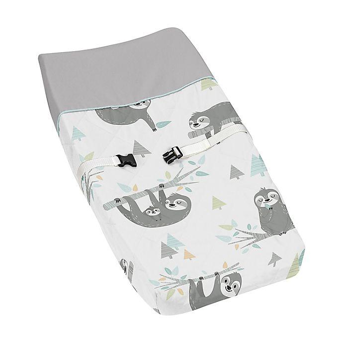 Alternate image 1 for Sweet Jojo Designs Tropical Changing Pad Cover in Aqua/Grey