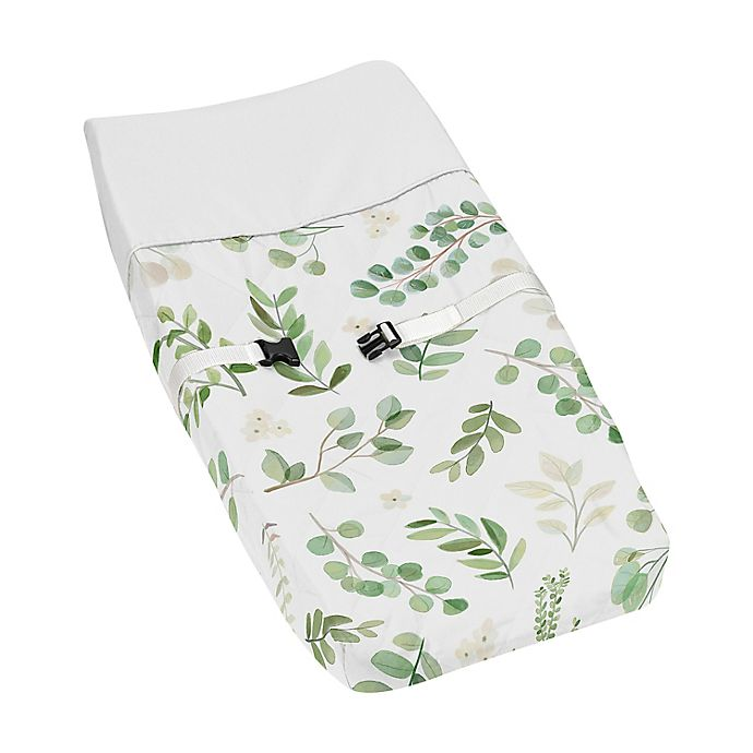 Alternate image 1 for Sweet Jojo Designs® Watercolor Botanical Leaf Changing Pad Cover in Green/White