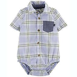 OshKosh B'gosh® Size 3M Plaid Button-Front Short Sleeve Bodysuit in Blue/Yellow