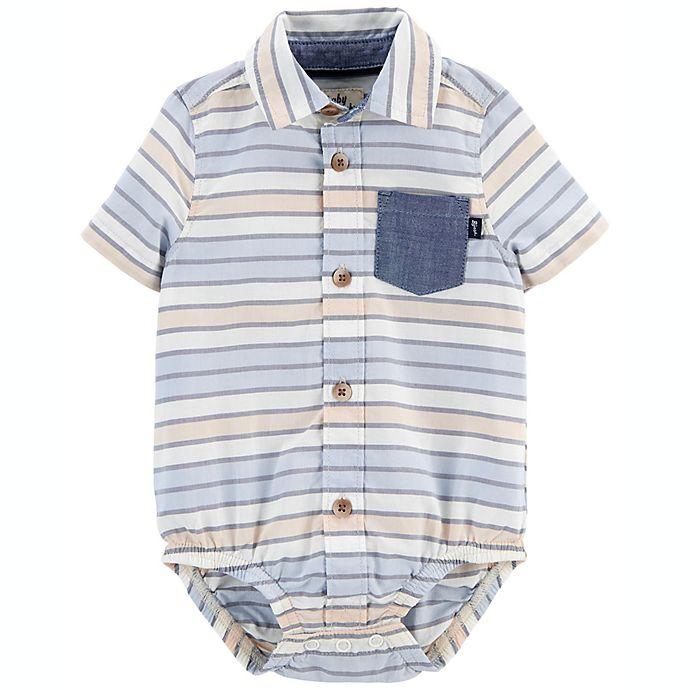 Alternate image 1 for OshKosh B'gosh® Striped Button-Front Short Sleeve Bodysuit in Blue/Yellow