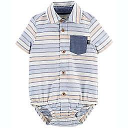OshKosh B'gosh® Striped Button-Front Short Sleeve Bodysuit in Blue/Yellow