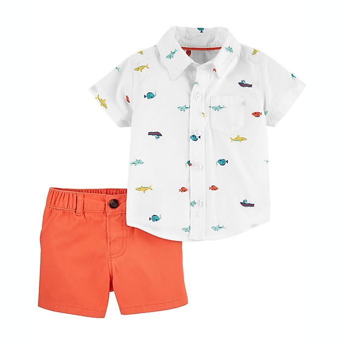 Alternate image 1 for carter's® 2-Piece Nautical Button-Front Shirt and Short Set in Ivory/Orange