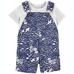 carter's® 2-Piece Grey T-Shirt and Sea Life Shortall Set in Navy