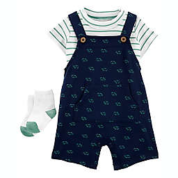 carter's® 2-Piece Striped T-Shirt and Turtle Shortall Set in Blue