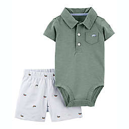 carter's® 2-Piece Iguana Polo Bodysuit and Short Set in Green
