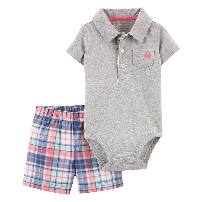 Alternate image 1 for carter's® 2-Piece Tractor Polo Bodysuit and Short Set in Grey/Blue