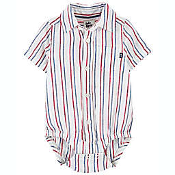 carter's® Size 24M Button-Front Striped Short Sleeve Bodysuit in Red/Blue
