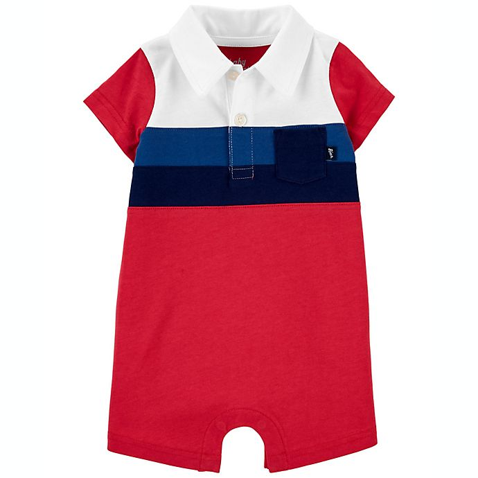 Alternate image 1 for carter's® Size 12M Striped Jersey Short Sleeve Romper in Red/Blue