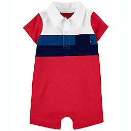 carter's® Striped Jersey Short Sleeve Romper in Red/Blue