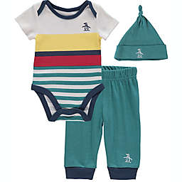 Original Penguin® 3-Piece Striped Bodysuit, Hat and Pant Set in Green