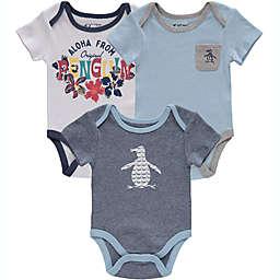 Original Penguin® Size 3-6M 3-Pack Aloha Bodysuits in Blue
