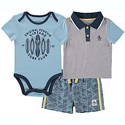 Size 18M 3-Piece Penguin Short Sleeve Bodysuit, Polo T-Shirt, and Short Set in Blue/Grey